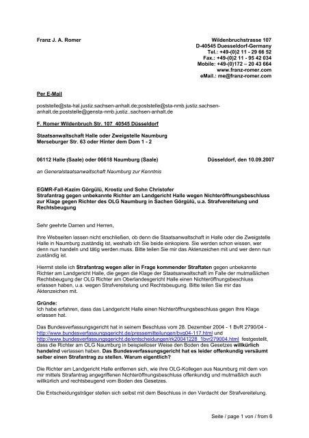 Franz Romer Landgericht Halle 20070909 Pdf Vater Aktuell