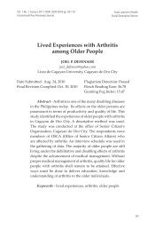 Lived Experiences with Arthritis among Older People - EISRJC