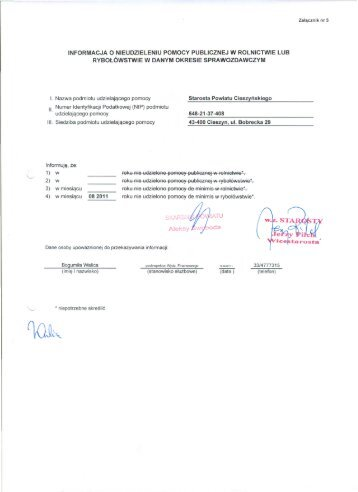 pomoc de minimis - sierpień 2011 r.