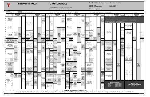 Shawnessy YMCA GYM SCHEDULE - YMCA Calgary