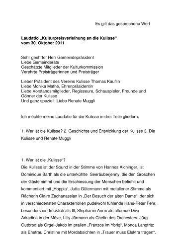 Laudatio Kulturpreisverleihung Küsnacht 30.10.2011