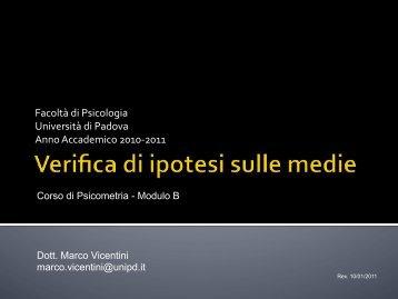 Verifica di ipotesi sulle medie - Marco Vicentini