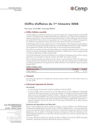 Chiffre d'affaires du 1er trimestre 2008 - Cerep