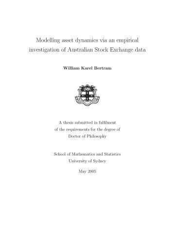 Modelling asset dynamics via an empirical ... - Gilles Daniel