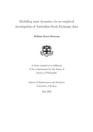 Modelling asset dynamics via an empirical ... - Gilles Daniel