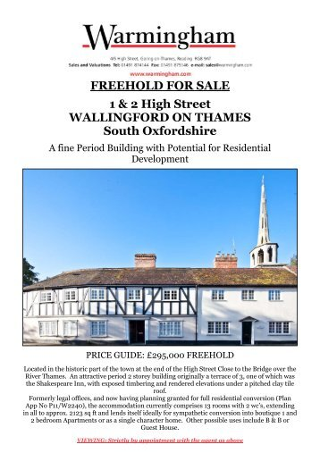 FREEHOLD FOR SALE 1 & 2 High Street ... - Warmingham