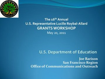 U.S. Department of Education - Congresswoman Lucille Roybal-Allard