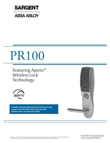 SARGENT PR100 Catalog - Access Control Solutions from ASSA ...