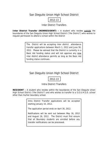 San Dieguito Union High School District San Dieguito Union High ...