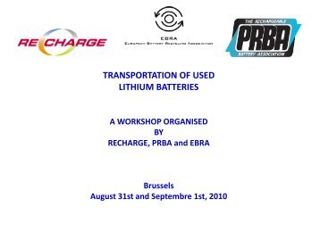 TRANSPORTATION OF USED LITHIUM BATTERIES - Recharge
