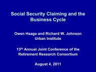 View the presentation - Center for Retirement Research