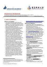 Hinweise fuer Studierende - Chinesisch-Deutsche Technische ...