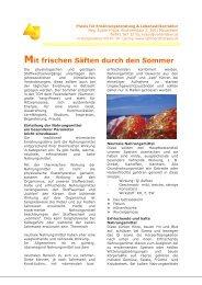 Artikel mit frischen Säften in den Sommer