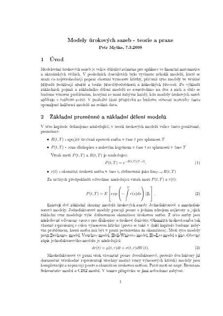 Modely úrokových sazeb - teorie a praxe 1 Úvod 2 Základní prom ...