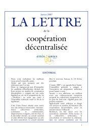 La Lettre de janvier 2007 - Cités Unies France