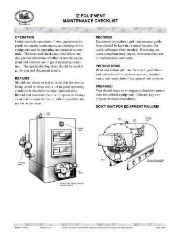 433 Equipment Maintenance Checklist - Hartford Steam Boiler