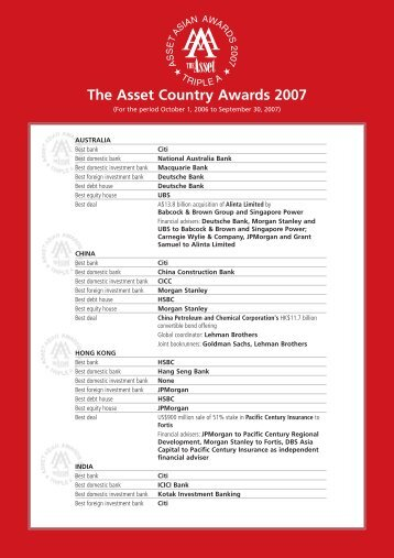 The Asset Country Awards 2007