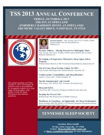 TSS 2013 A - Tennessee Sleep Society