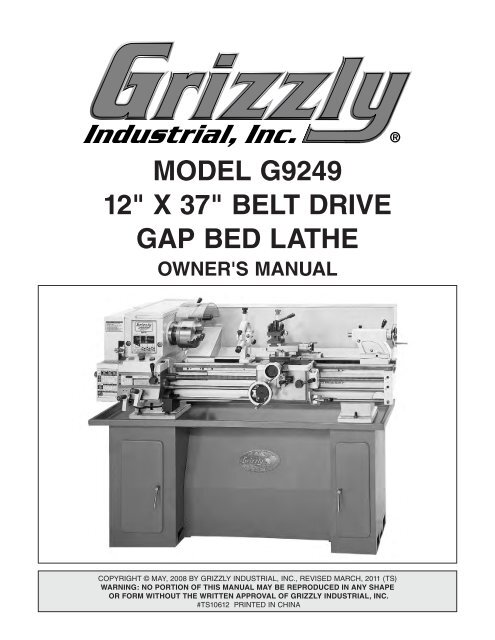 Remarkable Model G9249 12 X 37 Belt Drive Gap Bed Lathe Grizzly Ncnpc Chair Design For Home Ncnpcorg