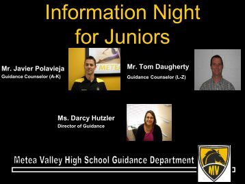 Junior Parent Night Information - Metea Valley High School
