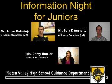 Junior Parent Night Information - Metea Valley High School