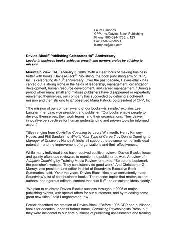 Davies-Black ® Publishing Celebrates 10th Anniversary - CPP.com