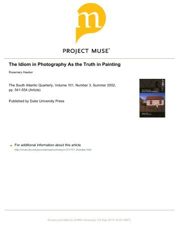The Idiom in Photography As the Truth in Painting - Griffith Research ...