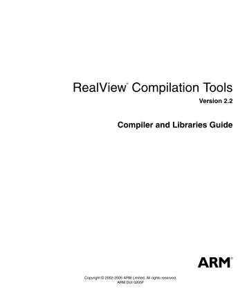 RealView Compilation Tools - ARM Information Center