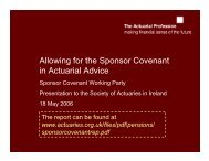 Allowing for the Sponsor Covenant in Actuarial Advice - Society of ...