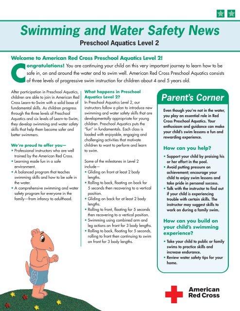 Newsletters to Parents - Preschool Aquatics Level 2