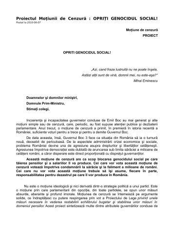 Proiectul Moțiunii de Cenzură : OPRIȚI GENOCIDUL ... - Ziua Veche