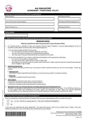 Surrender Form; Form no 5074 & 3510 - LIC