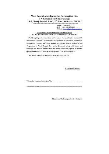 Transport Tender - West Bengal Agro Industries Corporation Ltd ...
