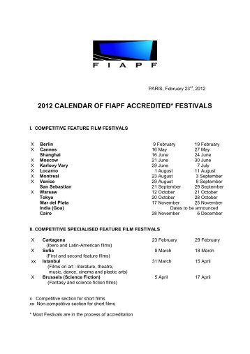 2012 calendar of fiapf accredited festivals