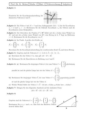 Aufgaben zur Vektorrechnung (Teil 1)