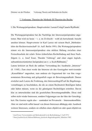 7. Vorlesung: Theorien der Methode III/Theorien des Rechts I. Die ...