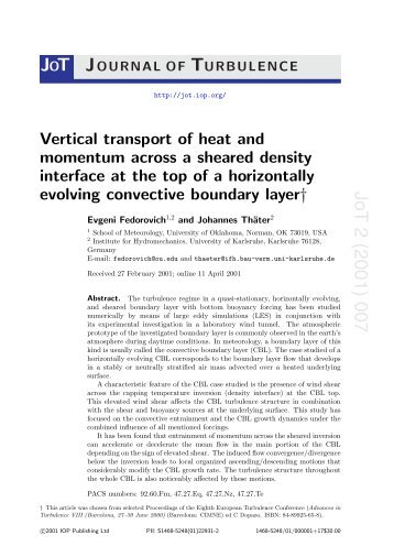Vertical transport of heat and momentum across a sheared density ...