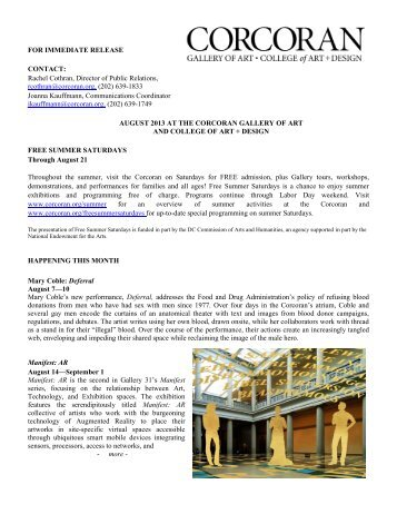 August 2013 at the Corcoran - Corcoran Gallery of Art