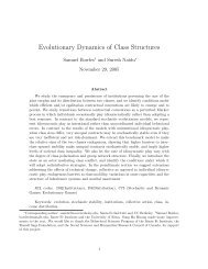 Evolutionary Dynamics of Class Structures