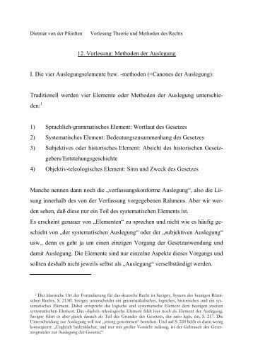 12. Vorlesung: Methoden der Auslegung I. Die vier ...