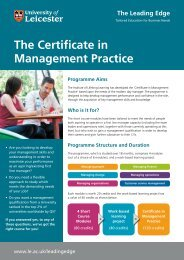 The Certificate in Management Practice - University of Leicester