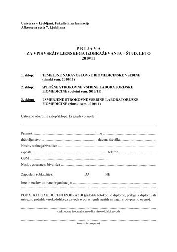 prijava za vpis vseživljenskega izobraževanja – štud. leto 2010/11