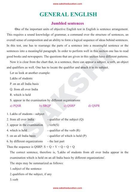 GENERAL ENGLISH Jumbled sentences - sakshieducation com