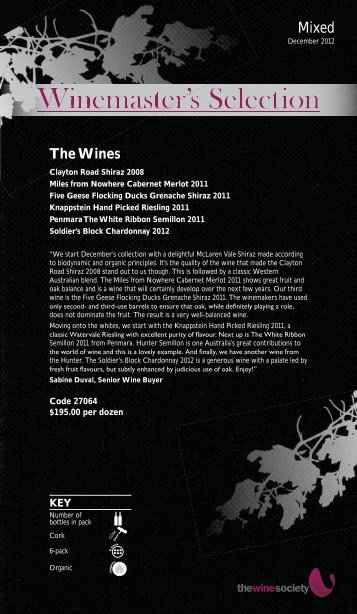 Winemaster's Selection December 2012 - Mixed - The Wine Society