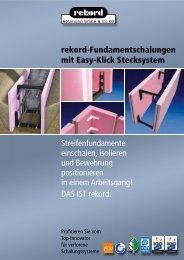 rekord-Fundamentschalungen mit Easy-Klick ... - Rekord Holzmann
