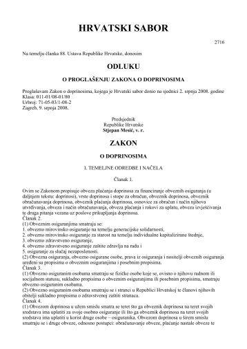 Zakon o doprinosima - Hrvatski zavod za zdravstveno osiguranje