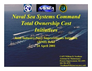 JINII - NAVSEA Total Ownership Cost Initiatives Brief ... - NST Center