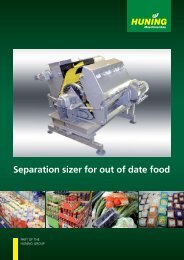 Separation sizer for out of date food - Huning Maschinenbau