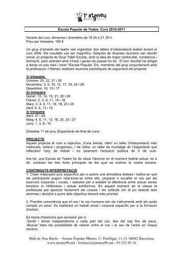 grup taller escola de teatre 2007-2008 - Ateneu Popular 9 Barris
