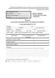 Wniosek o przyznanie stypendium Rektora dla najlepszych studentów